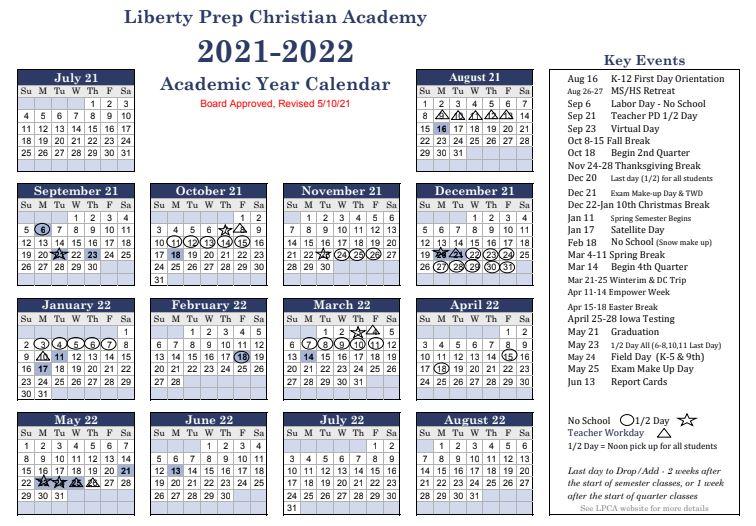 2021-22 Academic Year Calendar (Updated May 2021)